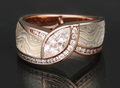 mokume marquise rose gold winter engagement ring