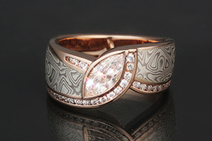 mokume marquise rose gold engagement ring