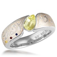 Mokume Wave Engagement Ring Marquise Yellow Sapphire and Birthstone Accents