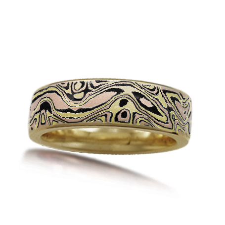 Darkened Autumn Mokume Wedding Band
