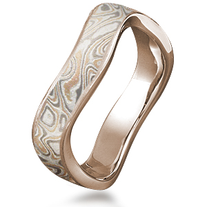 Wavy Champagne Mokume Wedding Band with Rose Gold