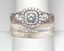 Engagement Ring with Mokume Diamond Channel Wedding Band
