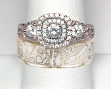 Engagement Ring with Mokume Vertical Diamond Channel