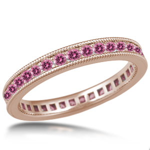 Sapphire Wedding Band Milegrain Pave Rose Gold Wedding Band