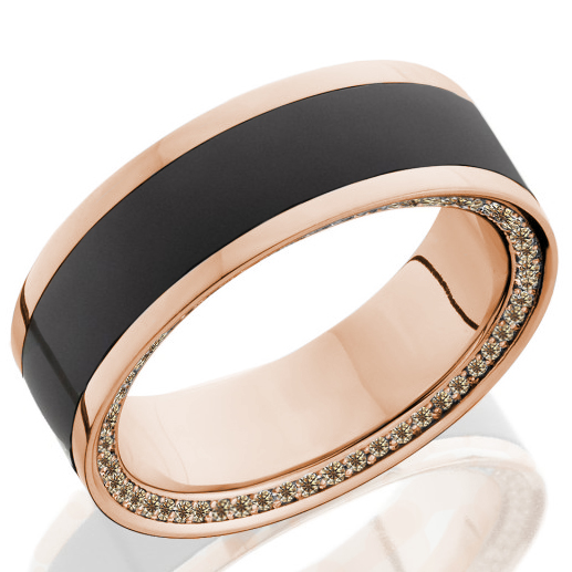 Elysium Wedding Band with Rose Gold Rails and Champagne Diamonds