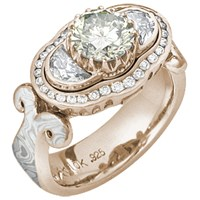 White Mokume Queen of Everything Engagement Ring in 14k Rose Gold