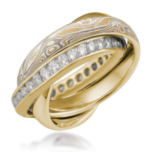 Rolling Ring in 18k Yellow Gold with Summer Mokume and Diamond Channel Band