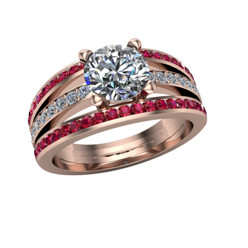 ruby and diamond engagement ring in rose gold
