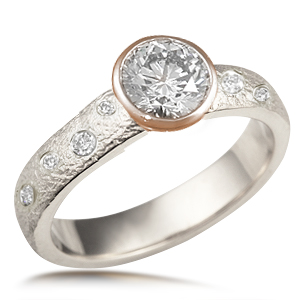 Rustic Bezel Engagement Ring with Scattered Diamonds