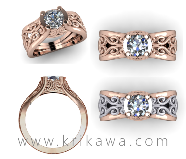 Scrollwork engagement ring in rose gold and two tone