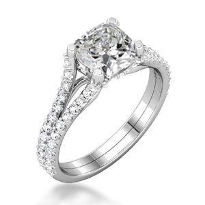 Secret Halo Double Band Engagement Ring with Cushion Cut Diamond