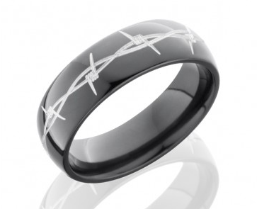 shiny black mens band with custom etched pattern