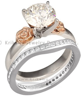 simple rose engagement ring with diamond channel contoured band