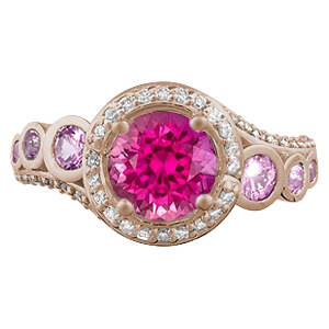 Spiral Galaxy Pave Engagement Ring with Bright Pink Sapphire top