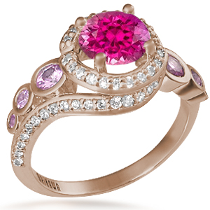 Spiral Galaxy Pave Engagement Ring with Bright Pink Sapphire