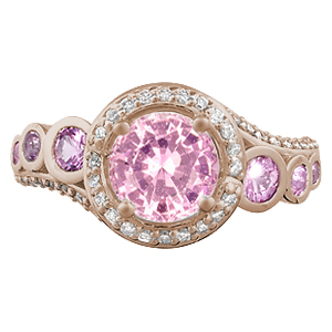 Spiral Galaxy Pave Engagement Ring with Light Pink Sapphire top