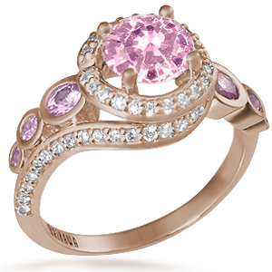 Spiral Galaxy Pave Engagement Ring with Light Pink Sapphire
