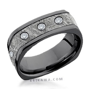 black meteorite wedding band square with diamonds