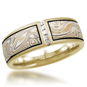 Summer Mokume Diamond Wedding Band with Vertical Channel
