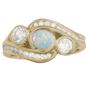 Three Stone Channel Wave Engagement Ring in Yellow Gold with Opal Center