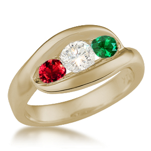 Three Stone Wave Engagement Ring with Ruby, Diamond and Emerald