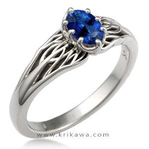 tree of life engagement ring sapphire