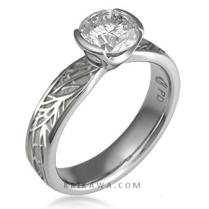 modern tree of life engagement ring