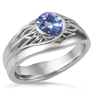 Tree of Life Wedding Set White Gold and Sapphire