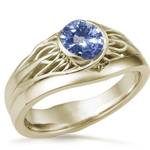 Tree of Life Wedding Set Yellow Gold and Sapphire