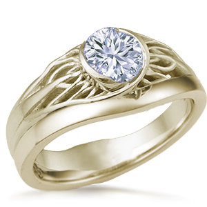 Tree of Life Wedding Set Yellow Gold and White Diamond
