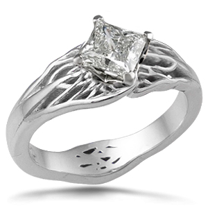 tree of life engagement ring diagonal diamond