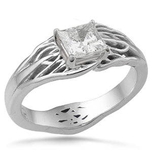 tree of life engagement ring princess diamond