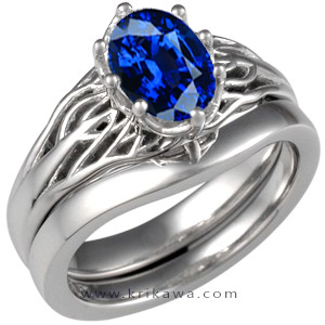 tree of life blue sapphire engagement ring
