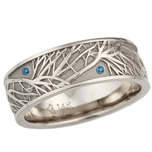 Natural White Gold Tree of Life Wedding Band with Blue Topaz