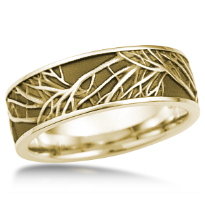 Tree of Life Wedding Band in Yellow Gold with Darkened Recess Background