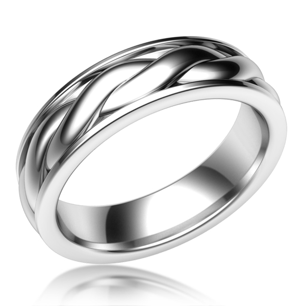 Twist Mens Wedding Band in White Gold