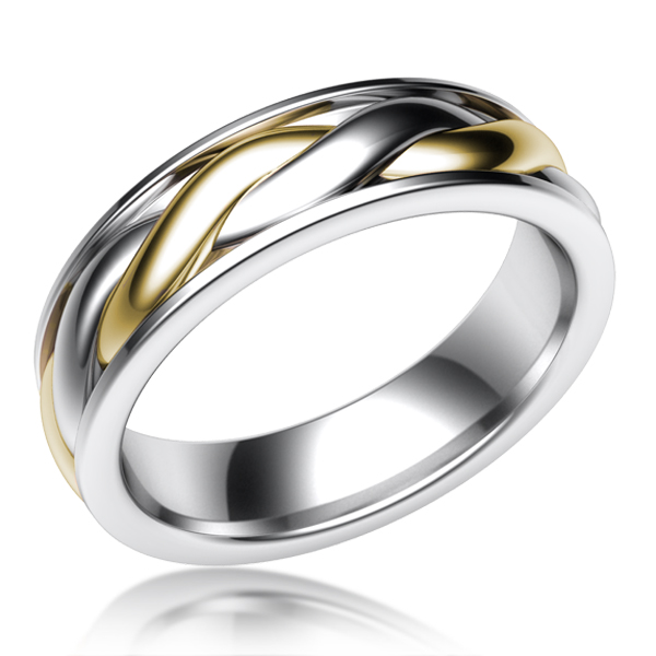 Twist Mens Wedding Band with Yellow Gold and White Gold