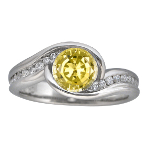 Carved Wave Engagement Ring with Yellow Sapphire