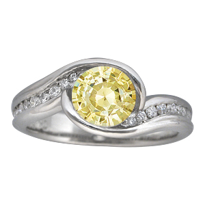Carved Wave Engagement Ring with Light Yellow Sapphire