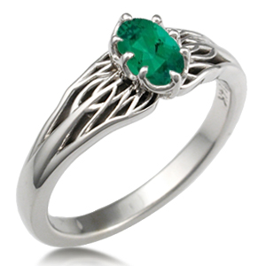 Tree of Life Engagement Ring with Green Stone