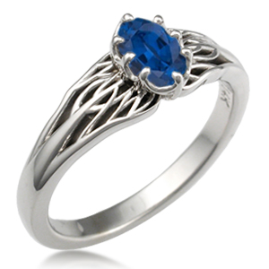 Tree of Life Engagement Ring Blue Sapphire 7mmX5mm