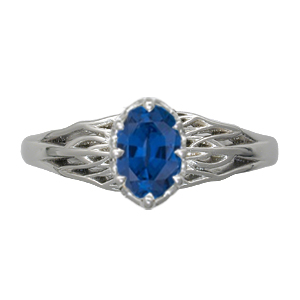 Tree of Life Engagement Ring Blue Sapphire 8mmX6mm