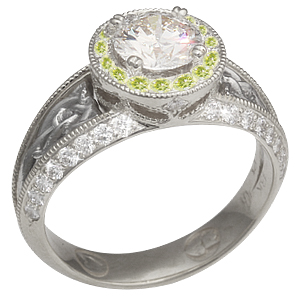 Vintage Celtic Knot Engagement Ring with Lime Green Halo