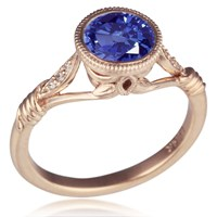 Vintage Leaf and Vine Engagement Ring with Blue Sapphire