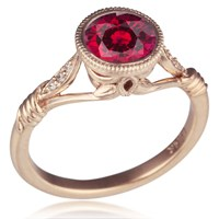 Vintage Leaf and Vine Engagement Ring with Ruby