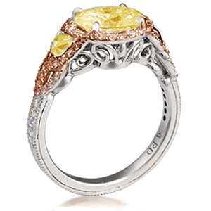 vintage engagement ring with champagne and yellow diamonds