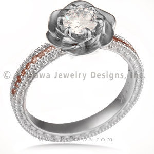 Vintage Rose Engagement Ring with Champagne Diamonds