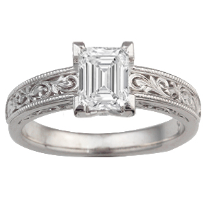 Vintage Scrollwork Solitaire Engagement Ring with 6.7x5mm Emerald Cut Diamond
