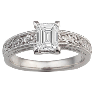 Vintage Scrollwork Solitaire Engagement Ring with 4.5x6mm emerald cut diamond