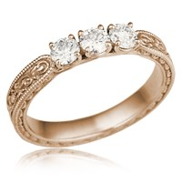 Vintage Three Stone Anniversary Ring in 14k Rose Gold